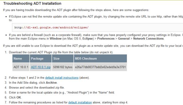 Bagian yang menyediakan download ADT. Download saja versi terbaru